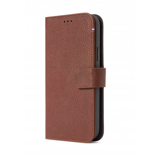 iPhone 13 mini Handyhülle Decoded Detachable MagSafe Leather Wallet - Braun
