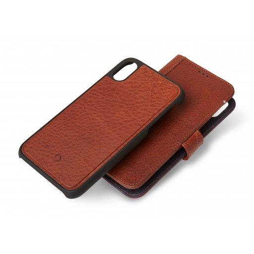 iPhone XS Max Handyhülle Decoded Premium 2-in-1 Wallet Case mit seperatem Backcover und 2 Fächer für Kreditkarten und Cash für iPhone Xs Max (6.5'') - Braun
