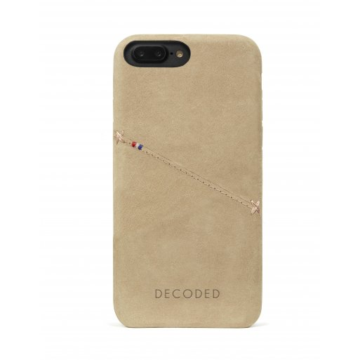iPhone 6S Plus Handyhülle Decoded Premium Leder Backcover mit Kreditkartenfach für iPhone 6/6S Plus/7 Plus/8 Plus (5.5'') mit Wireless Charging Support - Hellbraun
