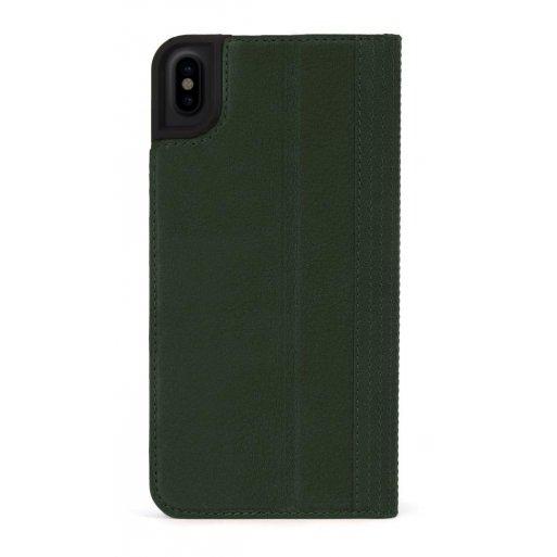 iPhone XS Handyhülle Decoded Premium Leder Wallet mit innseitig 3 Fächer für Kreditkarten und Cash sowie magnetischer Verschluss für iPhone X/Xs (5.8'') - Dunkelgrün