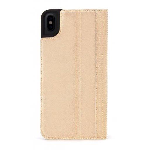 iPhone XS Handyhülle Decoded Premium Leder Wallet mit innseitig 3 Fächer für Kreditkarten und Cash sowie magnetischer Verschluss für iPhone X/Xs (5.8'') - Hellbraun