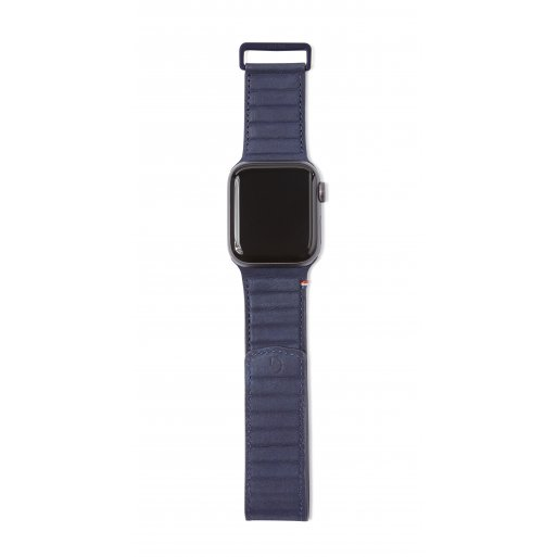 Apple Watch 5 44mm Armband Decoded Traction Leather Strap 42/44mm - Dunkelblau