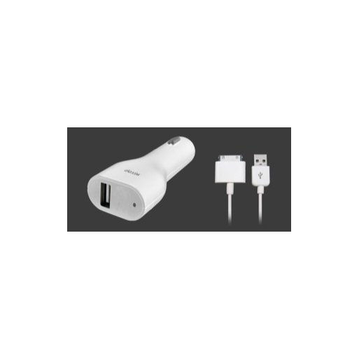 AirPods Autoladegerät Dexim Car Charger (2.1 Ampere) inkl. abnehmbaren USB-30 Pin Dock Connector Kabel für iPad, iPhone und iPod - Weiss