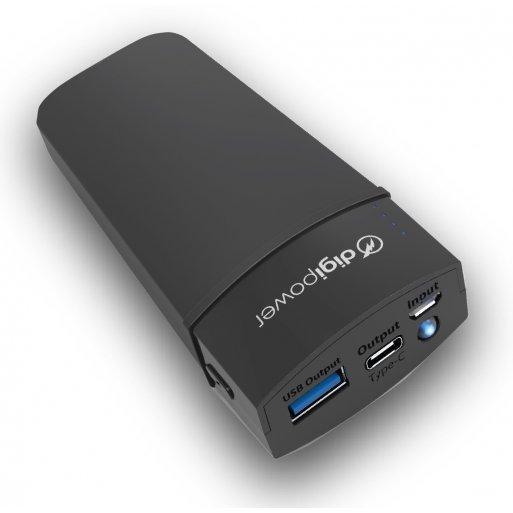 iPhone Powerbank Digipower Re-Fuel 5'000mAh Dual USB-C & USB-A Powerbank für iPad, iPhone, iPod & Smartphones und andere USB-C Geräte, inkl. integrierter Taschenlampe - Schwarz-Grün