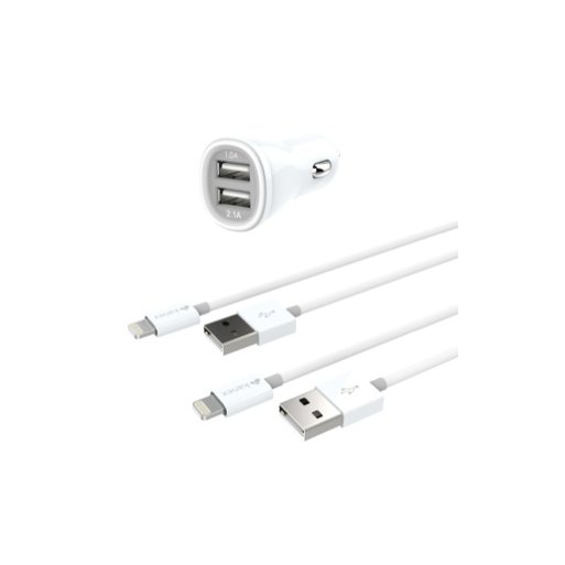 Apple Watch Autoladegerät Kanex Dual Car Charger 3.1A mit 2x Lightning Kabel (Charge & Sync), 1m - Weiss