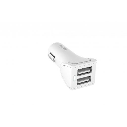 iPad Autoladegerät Kanex Dual Car Charger 3.4A mit LED Ladestatus und 2x abnehmbaren Lightning Kabel (Charge & Sync), 1.2m - Weiss