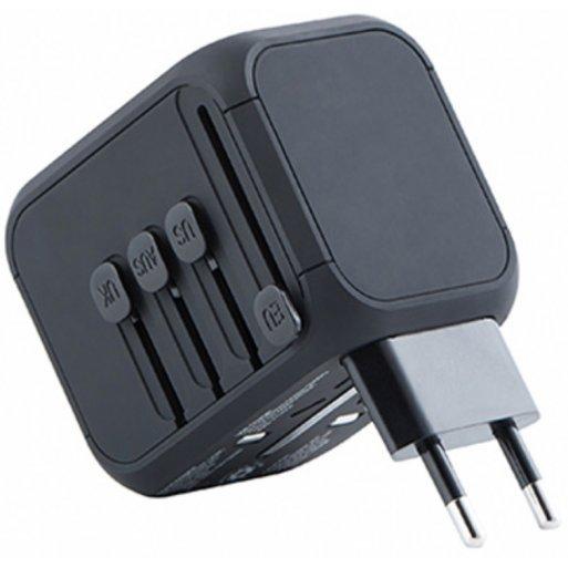 AirPods Ladegerät Kanex Internationaler Reiseadapter mit USB C Port - Schwarz
