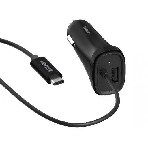 iPad Autoladegerät Kanex USB-C Car Charger mit integr. Kabel - Schwarz
