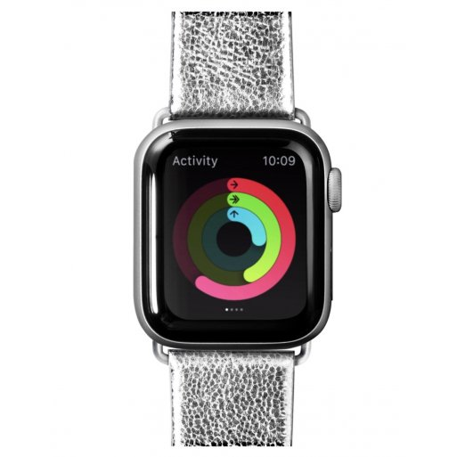Apple Watch 5 40mm Armband LAUT METALLIC LEATHER Armband 38/40mm - Silber