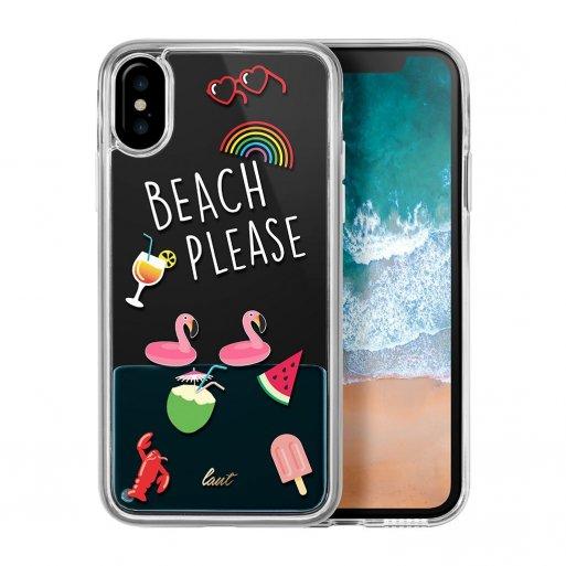 iPhone XS Handyhülle LAUT POP BEACH PLEASE Case inkl. 2x Screen Guards für ultimativen Schutz und einem vibranten Design für Ihr iPhone X/Xs (5.8'') - Blau-Weiss