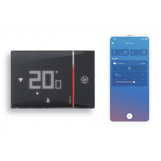iPhone Gadget Legrand with Netatmo Smarther 2 Raumthermostat (UP) - Schwarz