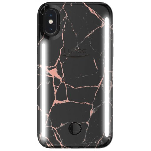iPhone XR Handyhülle LuMee Duo Marble LED Selfie Case - Schwarz
