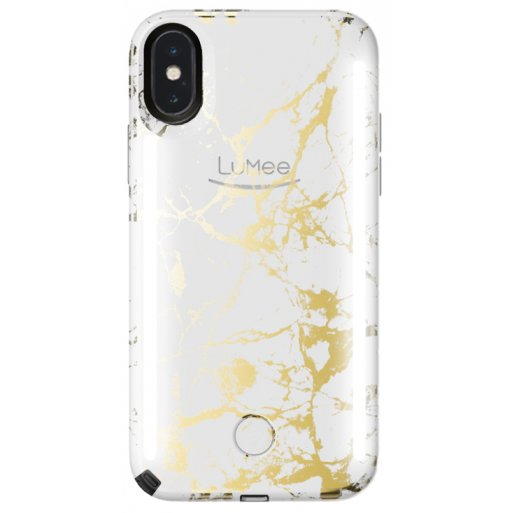 iPhone X Handyhülle LuMee Duo Marble - Weiss-Gold