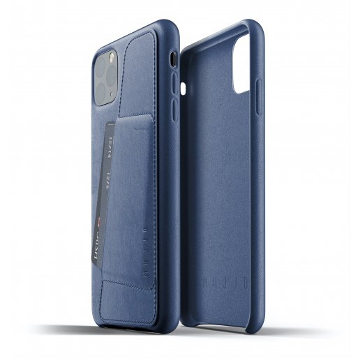 iPhone 11 Pro Max Handyhülle Mujjo Full Leather Wallet Case - Blau