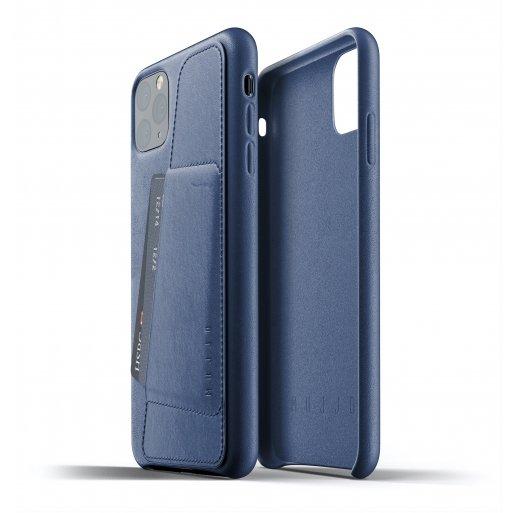 iPhone 11 Pro Max Handyhülle Mujjo Full Leather Wallet Case - Blau