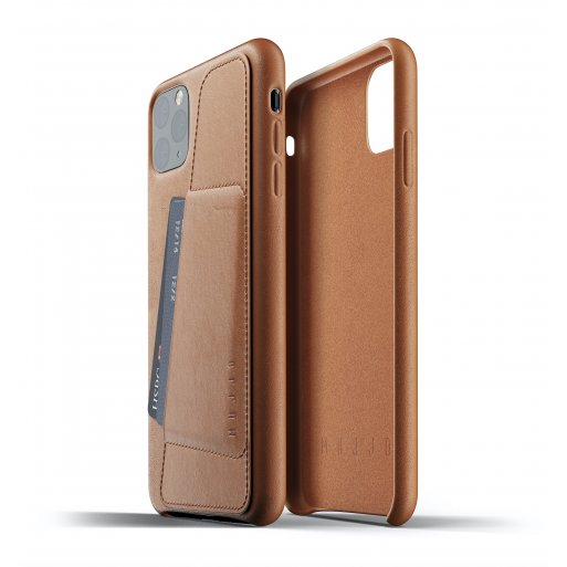 iPhone 11 Pro Max Handyhülle Mujjo Full Leather Wallet Case - Braun