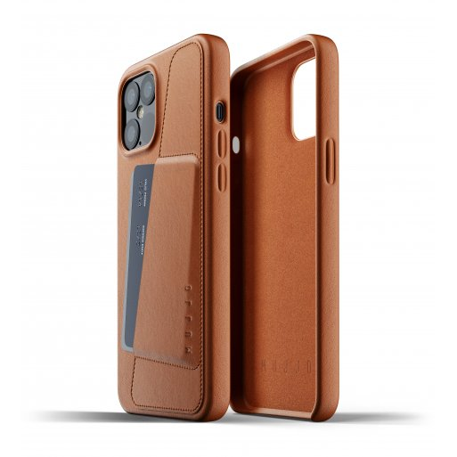 iPhone 12 Pro Max Handyhülle Mujjo Full Leather Wallet Case - Braun