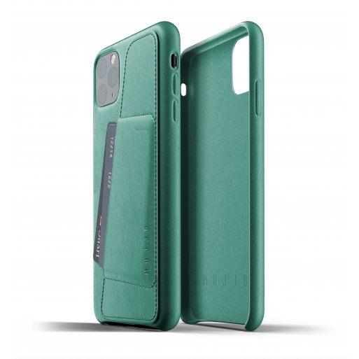 iPhone 11 Pro Max Handyhülle Mujjo Full Leather Wallet Case - Grün
