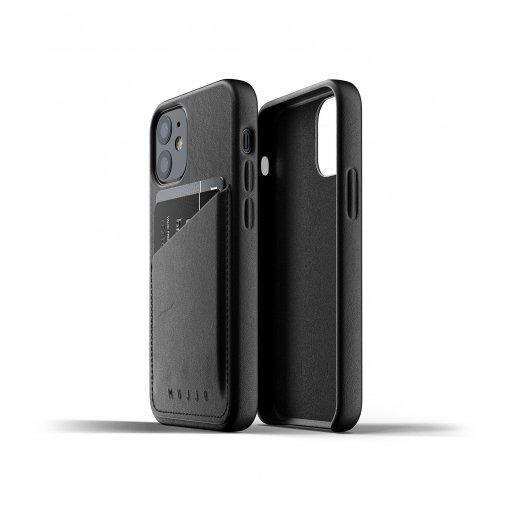 iPhone 12 mini Handyhülle Mujjo Full Leather Wallet Case - Schwarz