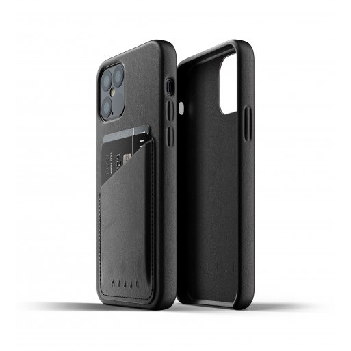 iPhone 12 Pro Handyhülle Mujjo Full Leather Wallet Case - Schwarz
