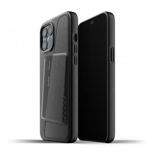iPhone 12 Pro Max Handyhülle Mujjo Full Leather Wallet Case - Schwarz
