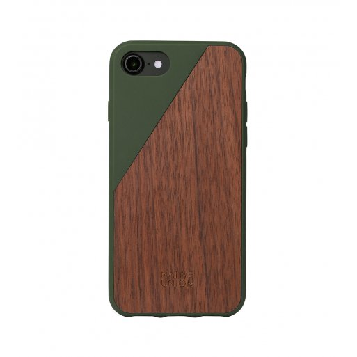 iPhone SE 2 (2020) Handyhülle Native Union Clic Wooden V2 - Braun-Dunkelgrün