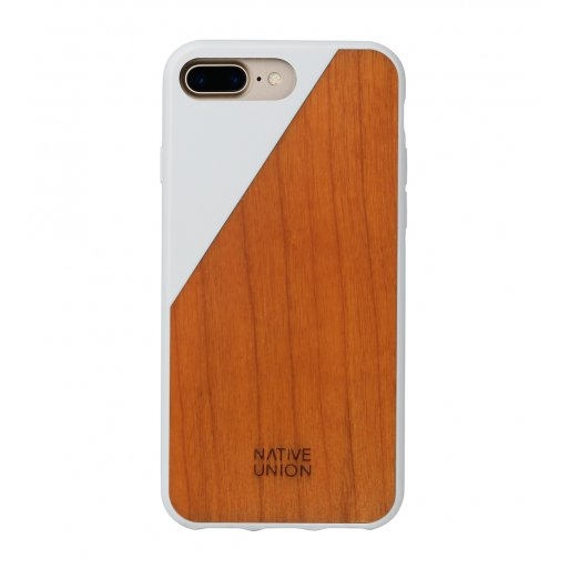 iPhone 7 Plus Handyhülle Native Union Clic Wooden V2 - Braun-Weiss