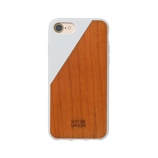iPhone SE 2 (2020) Handyhülle Native Union Clic Wooden V2 - Weiss