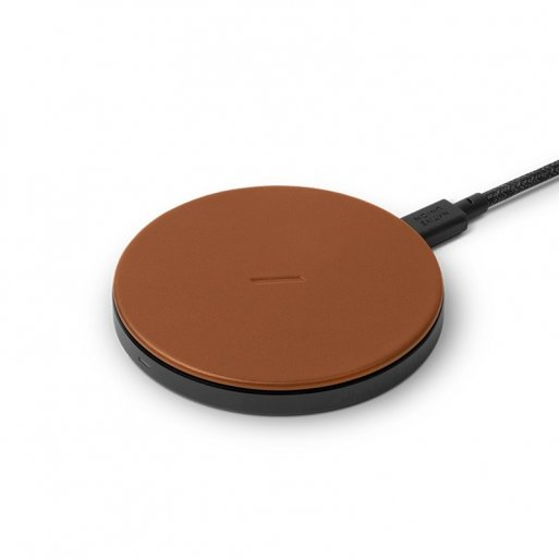 iPhone Ladestation Native Union Drop Leather Wireless Charger - Braun