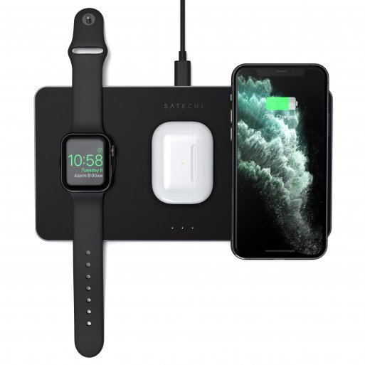 Apple Watch Ladestation Satechi Trio Wireless Qi Charging Pad - Space Gray