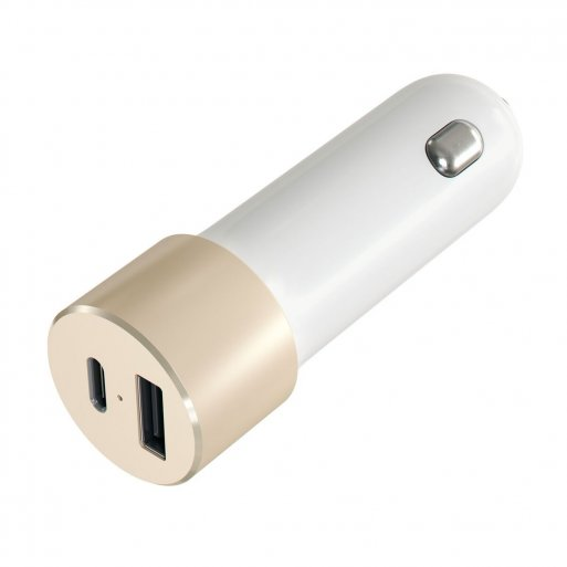 Apple Watch Autoladegerät Satechi USB Dual Car Charger 48W - Gold-Weiss