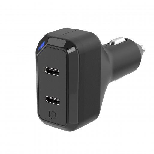 iPad Autoladegerät Scosche Dual USB-C Autoladegerät - Schwarz
